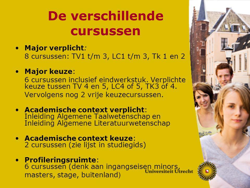 De verschillende cursussen Major verplicht: 8 cursussen: TV1 t/m 3, LC1 t/m 3, Tk 1 en 2 Major keuze: 6 cursussen inclusief eindwerkstuk. Verplichte k