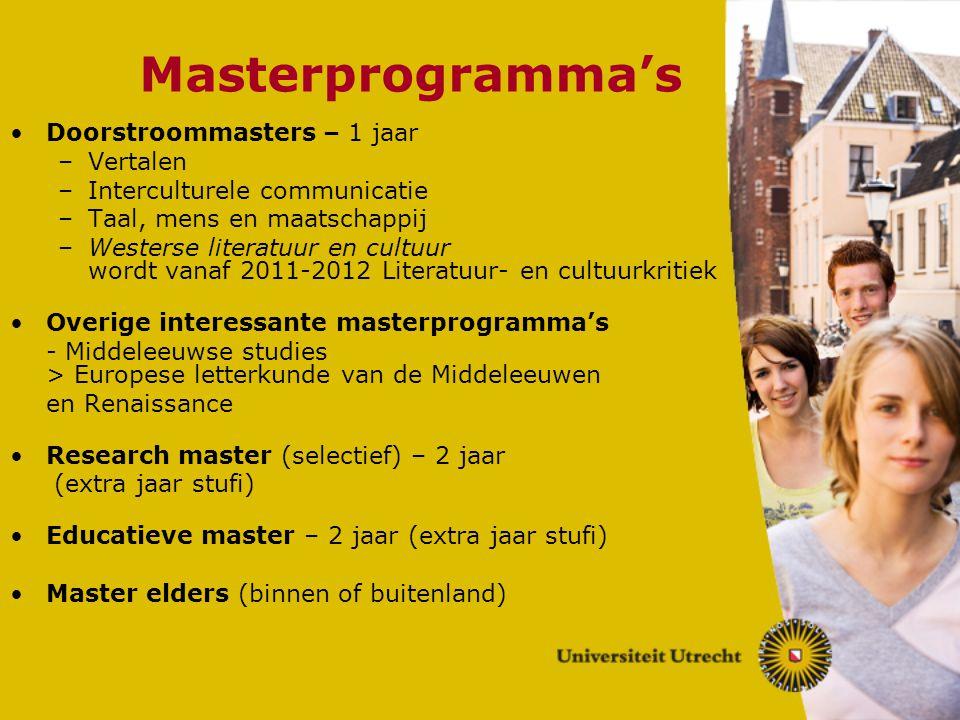Masterprogramma's Doorstroommasters – 1 jaar –Vertalen –Interculturele communicatie –Taal, mens en maatschappij –Westerse literatuur en cultuur wordt