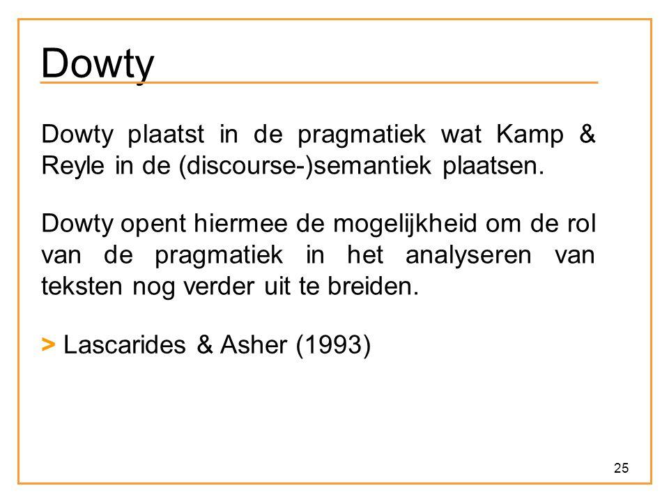 25 Dowty Dowty plaatst in de pragmatiek wat Kamp & Reyle in de (discourse-)semantiek plaatsen.