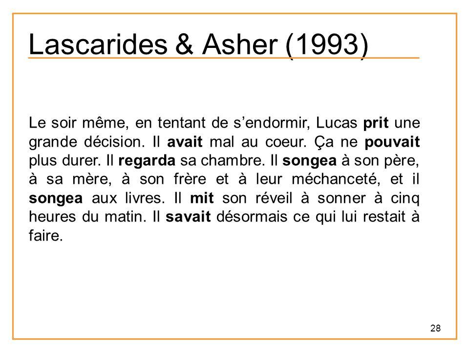28 Lascarides & Asher (1993) Le soir même, en tentant de s'endormir, Lucas prit une grande décision.