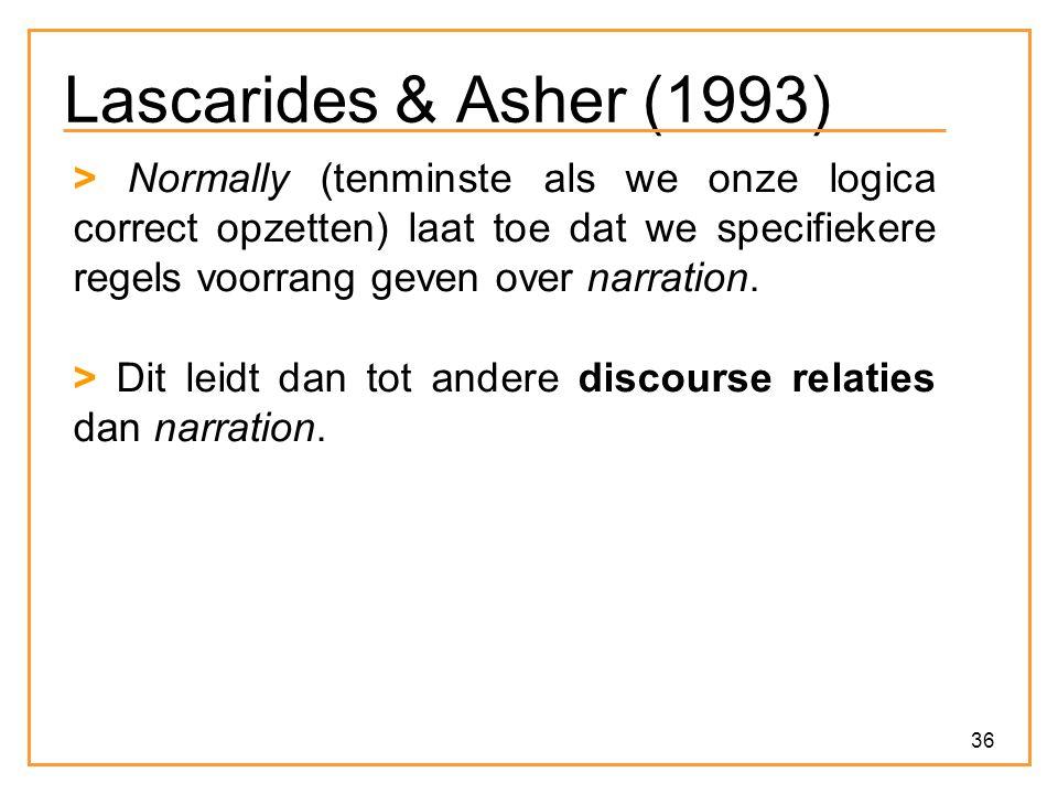 36 Lascarides & Asher (1993) > Normally (tenminste als we onze logica correct opzetten) laat toe dat we specifiekere regels voorrang geven over narration.