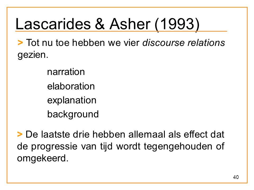 40 Lascarides & Asher (1993) > Tot nu toe hebben we vier discourse relations gezien.