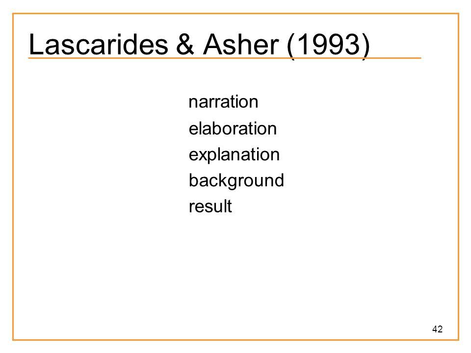 42 Lascarides & Asher (1993) narration elaboration explanation background result