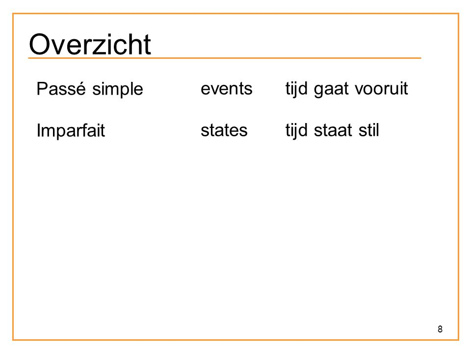 19 Dowty > Even terug naar Smith… … Narrative texts come with their own conventions.