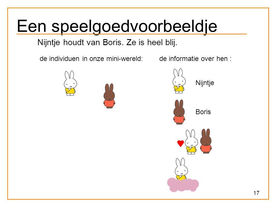 17 Een speelgoedvoorbeeldje Nijntje houdt van Boris. Ze is heel blij. de individuen in onze mini-wereld:de informatie over hen : Nijntje Boris