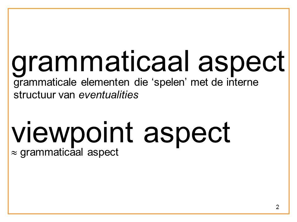 2 grammaticaal aspect grammaticale elementen die 'spelen' met de interne structuur van eventualities viewpoint aspect  grammaticaal aspect
