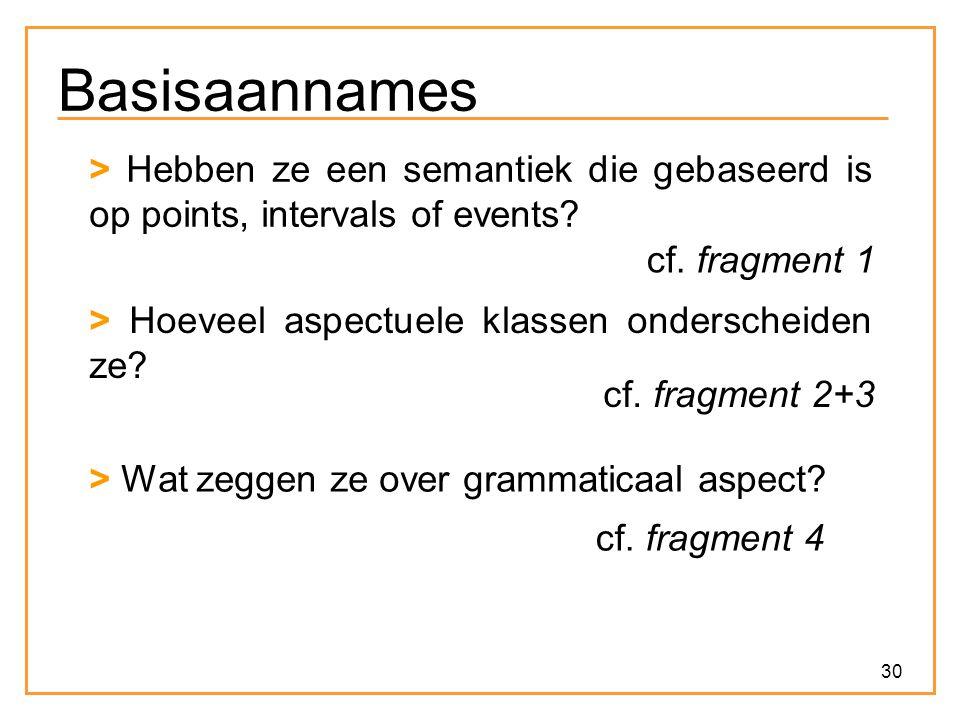 30 Basisaannames > Hebben ze een semantiek die gebaseerd is op points, intervals of events? cf. fragment 1 > Hoeveel aspectuele klassen onderscheiden