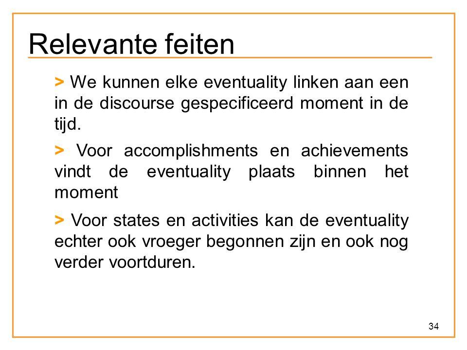34 Relevante feiten > Voor accomplishments en achievements vindt de eventuality plaats binnen het moment > Voor states en activities kan de eventualit