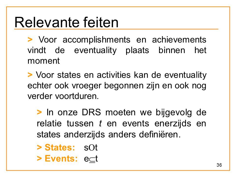 36 Relevante feiten > Voor accomplishments en achievements vindt de eventuality plaats binnen het moment > Voor states en activities kan de eventuality echter ook vroeger begonnen zijn en ook nog verder voortduren.