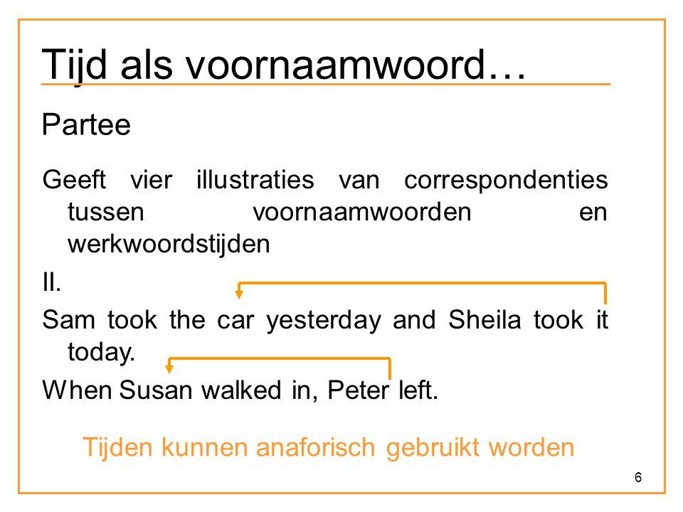 6 Tijd als voornaamwoord… Partee Geeft vier illustraties van correspondenties tussen voornaamwoorden en werkwoordstijden II. Sam took the car yesterda
