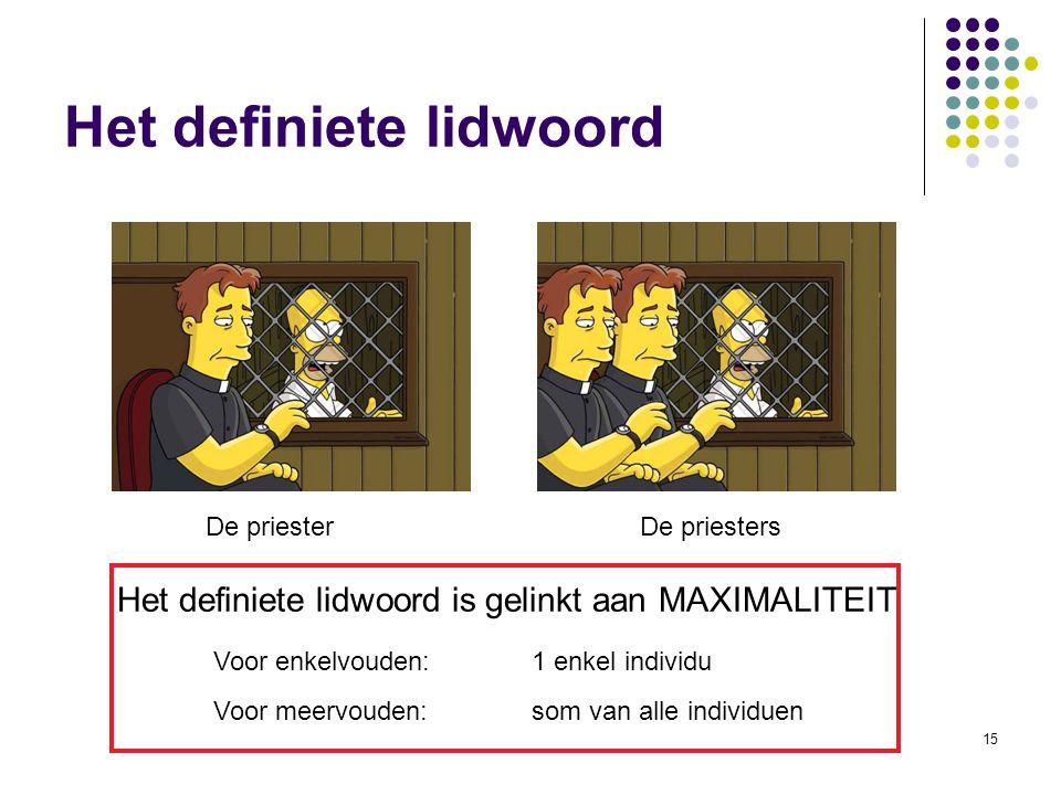 15 De priesterDe priesters Het definiete lidwoord is gelinkt aan MAXIMALITEIT Voor enkelvouden: 1 enkel individu Voor meervouden:som van alle individuen Het definiete lidwoord