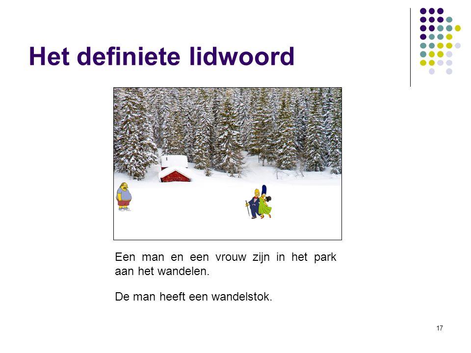 17 Het definiete lidwoord Een man en een vrouw zijn in het park aan het wandelen.