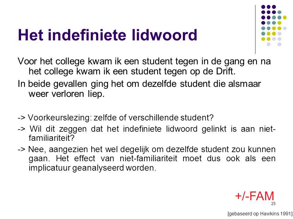 25 Het indefiniete lidwoord Voor het college kwam ik een student tegen in de gang en na het college kwam ik een student tegen op de Drift.