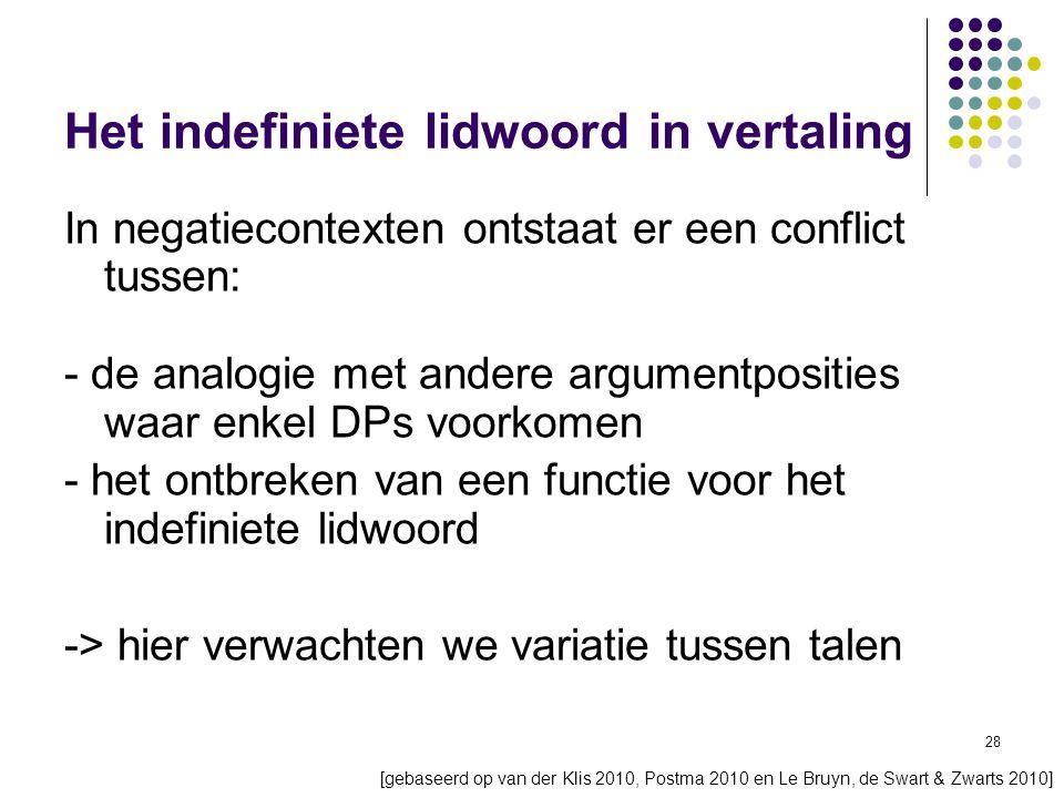 28 Het indefiniete lidwoord in vertaling In negatiecontexten ontstaat er een conflict tussen: - de analogie met andere argumentposities waar enkel DPs voorkomen - het ontbreken van een functie voor het indefiniete lidwoord -> hier verwachten we variatie tussen talen [gebaseerd op van der Klis 2010, Postma 2010 en Le Bruyn, de Swart & Zwarts 2010]