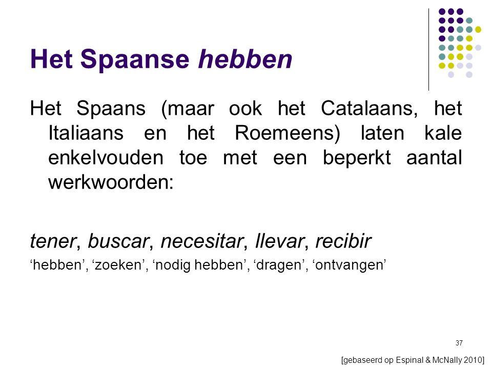 37 Het Spaanse hebben Het Spaans (maar ook het Catalaans, het Italiaans en het Roemeens) laten kale enkelvouden toe met een beperkt aantal werkwoorden: tener, buscar, necesitar, llevar, recibir 'hebben', 'zoeken', 'nodig hebben', 'dragen', 'ontvangen' [gebaseerd op Espinal & McNally 2010]
