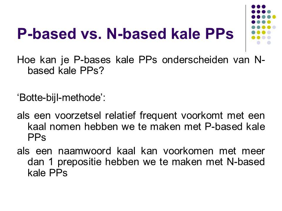65 P-based vs. N-based kale PPs Hoe kan je P-bases kale PPs onderscheiden van N- based kale PPs.