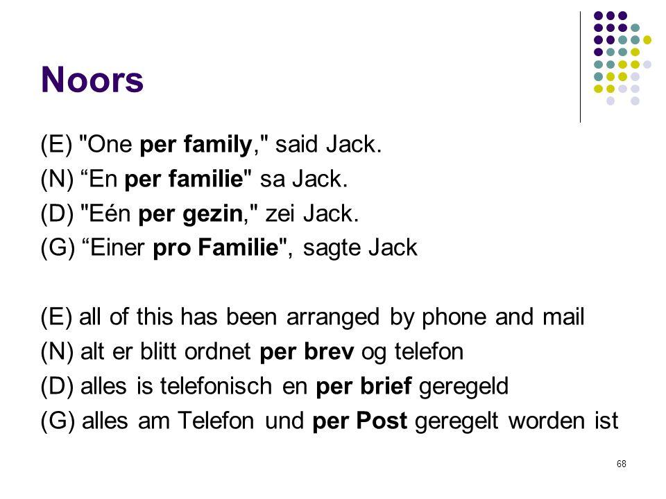 68 Noors (E) One per family, said Jack. (N) En per familie sa Jack.