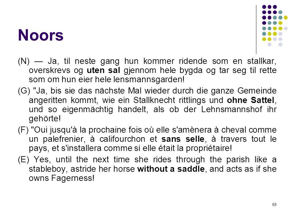 69 Noors (N) — Ja, til neste gang hun kommer ridende som en stallkar, overskrevs og uten sal gjennom hele bygda og tar seg til rette som om hun eier hele lensmannsgarden.
