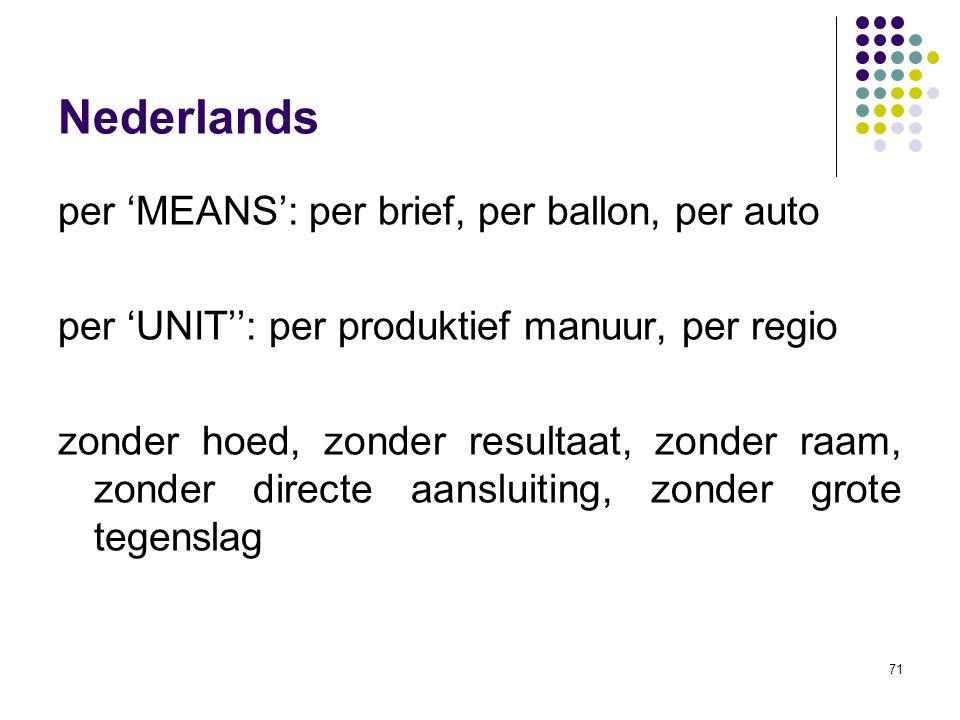 71 Nederlands per 'MEANS': per brief, per ballon, per auto per 'UNIT'': per produktief manuur, per regio zonder hoed, zonder resultaat, zonder raam, zonder directe aansluiting, zonder grote tegenslag