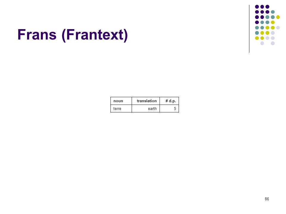 86 Frans (Frantext) nountranslation# d.p. terre earth 5