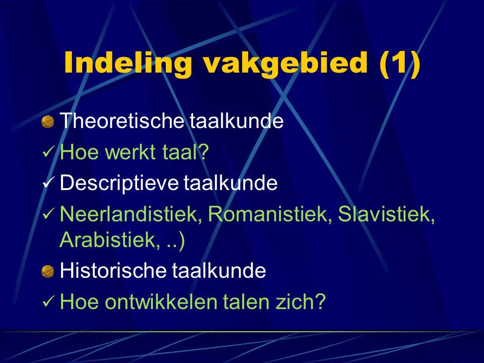 Indeling vakgebied (1) Theoretische taalkunde Hoe werkt taal? Descriptieve taalkunde Neerlandistiek, Romanistiek, Slavistiek, Arabistiek,..) Historisc