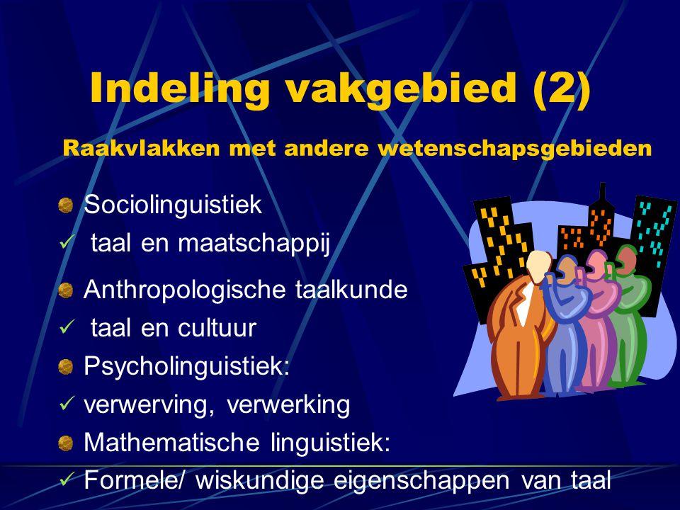 Indeling vakgebied (2) Anthropologische taalkunde taal en cultuur Psycholinguistiek: verwerving, verwerking Mathematische linguistiek: Formele/ wiskun