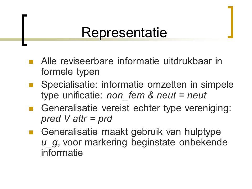 Lexicale acquisitie De reviseerbare informatie indelen in de twee klassen: 'specializable' en 'generalizable' Specializable: gender, case, etc.