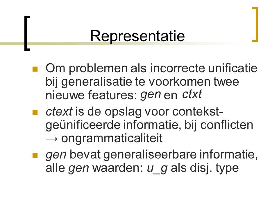 Representatie Alle reviseerbare informatie uitdrukbaar in formele typen Specialisatie: informatie omzetten in simpele type unificatie: non_fem & neut