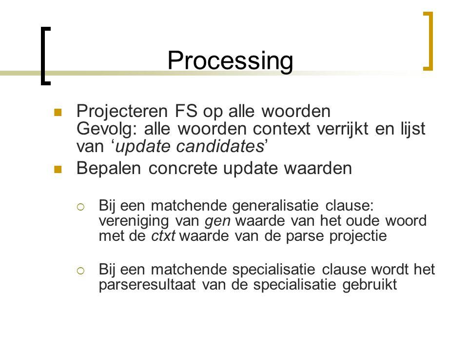 Processing Allereerst gewone parsing Bij een onbekend woord failt het parsen niet, maar gebruikt een generieke entry Hierna: updaten van lexical entri