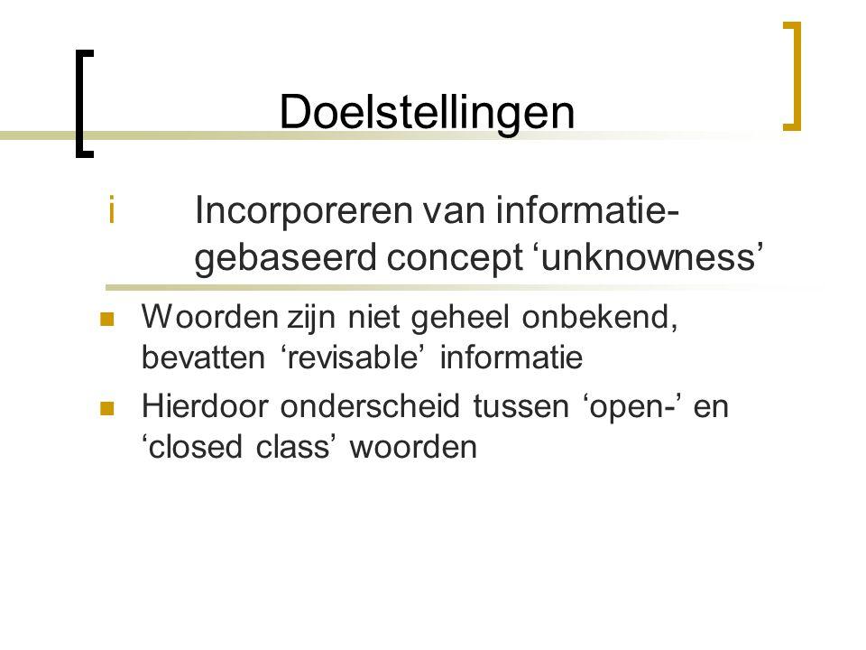 Introductie Andere systemen: uit grote corpora analyse door statistiek Dit systeem: meer gericht op grammaticale analyse van individuele zinnen