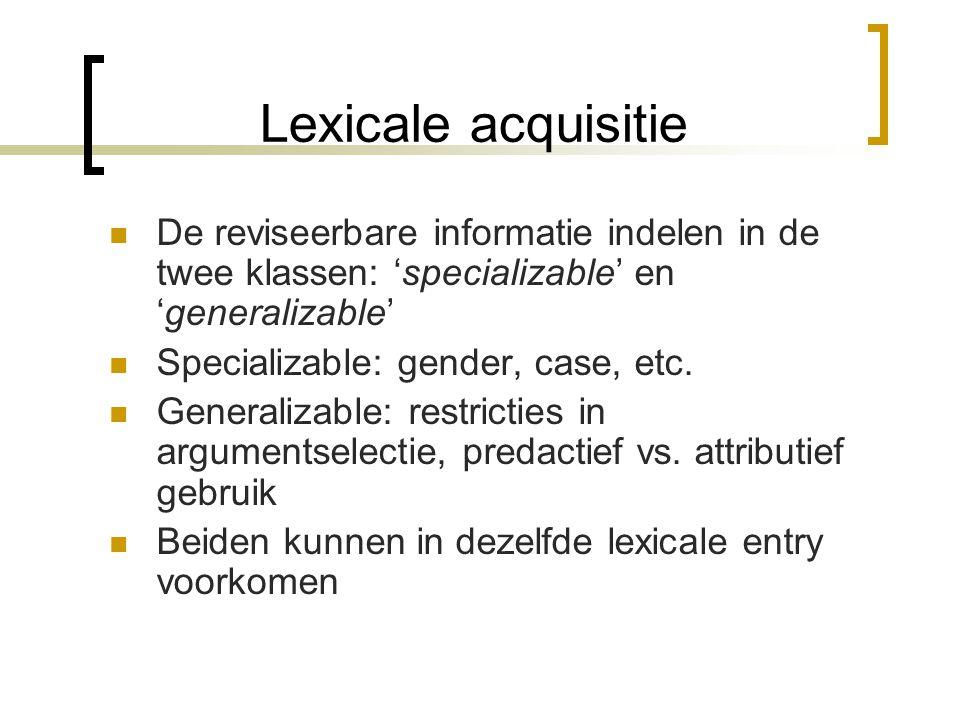 Lexicale acquisitie (1) a. Im Axon tritt ein Ruhepotential auf. b. Das Potential wandert über das Axon. (2) a. Das Ohr reagiert auf akustische Reize.