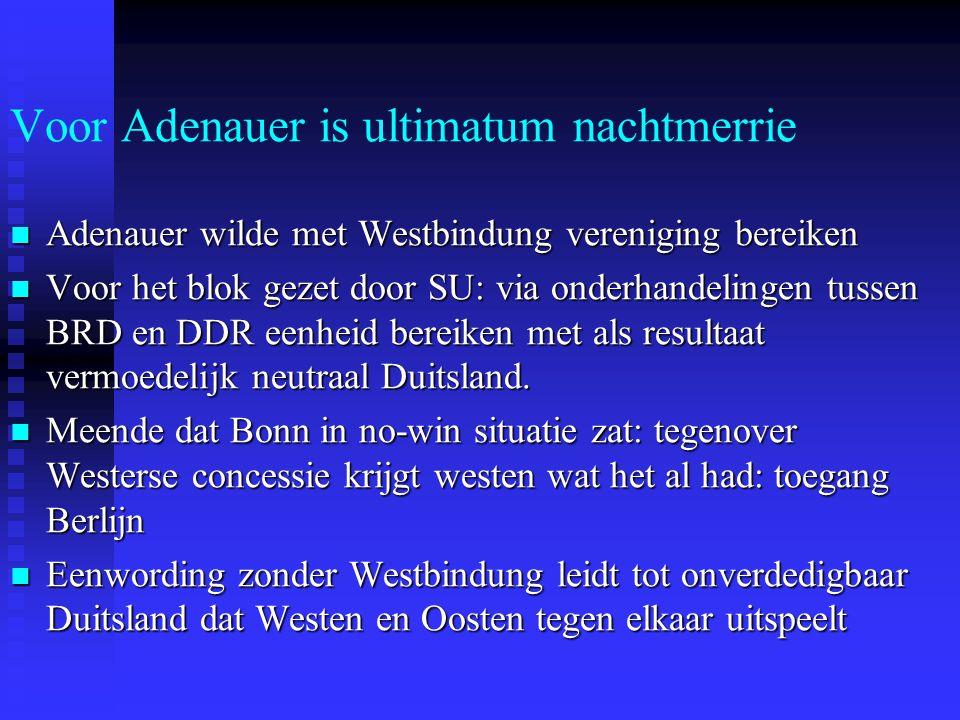 Voor Adenauer is ultimatum nachtmerrie Adenauer wilde met Westbindung vereniging bereiken Adenauer wilde met Westbindung vereniging bereiken Voor het