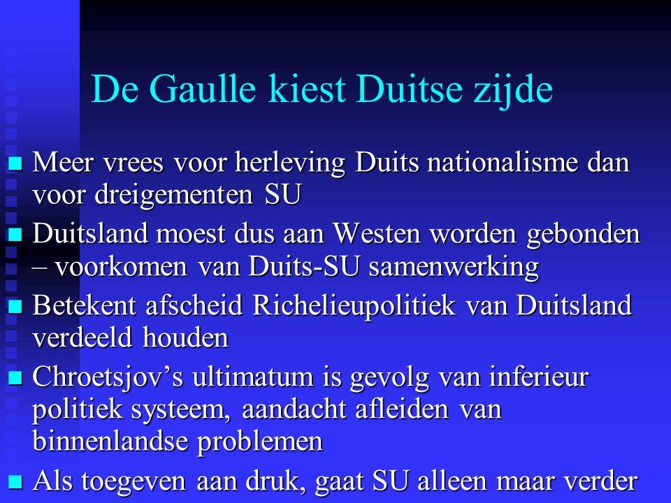 De Gaulle kiest Duitse zijde Meer vrees voor herleving Duits nationalisme dan voor dreigementen SU Meer vrees voor herleving Duits nationalisme dan vo