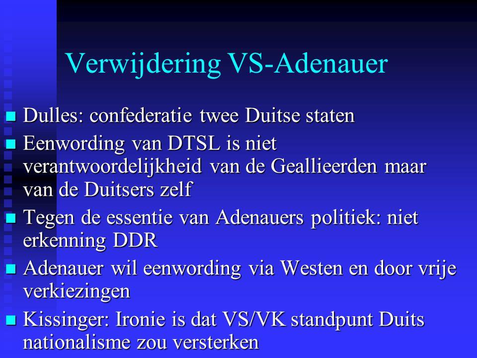 Verwijdering VS-Adenauer Dulles: confederatie twee Duitse staten Dulles: confederatie twee Duitse staten Eenwording van DTSL is niet verantwoordelijkh