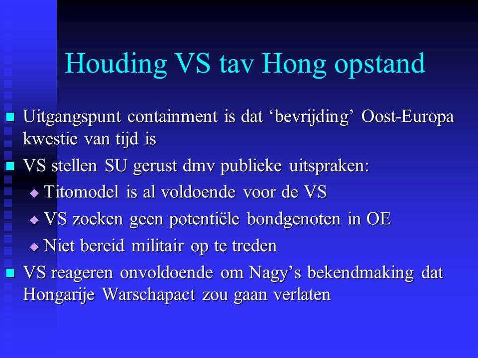 Houding VS tav Hong opstand Uitgangspunt containment is dat 'bevrijding' Oost-Europa kwestie van tijd is Uitgangspunt containment is dat 'bevrijding'
