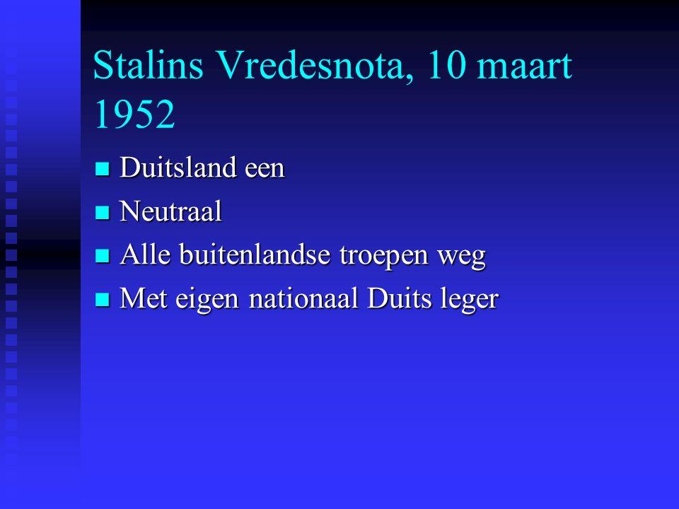 Stalins Vredesnota, 10 maart 1952 Duitsland een Duitsland een Neutraal Neutraal Alle buitenlandse troepen weg Alle buitenlandse troepen weg Met eigen nationaal Duits leger Met eigen nationaal Duits leger