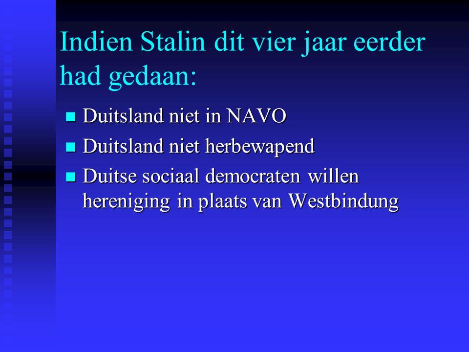 Indien Stalin dit vier jaar eerder had gedaan: Duitsland niet in NAVO Duitsland niet in NAVO Duitsland niet herbewapend Duitsland niet herbewapend Duitse sociaal democraten willen hereniging in plaats van Westbindung Duitse sociaal democraten willen hereniging in plaats van Westbindung