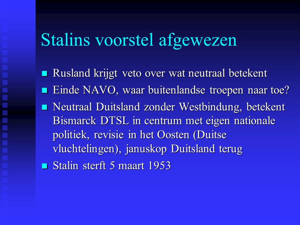 Stalins voorstel afgewezen Rusland krijgt veto over wat neutraal betekent Rusland krijgt veto over wat neutraal betekent Einde NAVO, waar buitenlandse troepen naar toe.