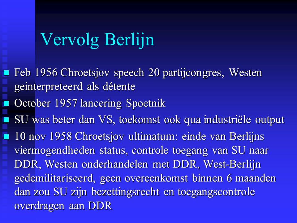 Vervolg Berlijn Feb 1956 Chroetsjov speech 20 partijcongres, Westen geinterpreteerd als détente Feb 1956 Chroetsjov speech 20 partijcongres, Westen geinterpreteerd als détente October 1957 lancering Spoetnik October 1957 lancering Spoetnik SU was beter dan VS, toekomst ook qua industriële output SU was beter dan VS, toekomst ook qua industriële output 10 nov 1958 Chroetsjov ultimatum: einde van Berlijns viermogendheden status, controle toegang van SU naar DDR, Westen onderhandelen met DDR, West-Berlijn gedemilitariseerd, geen overeenkomst binnen 6 maanden dan zou SU zijn bezettingsrecht en toegangscontrole overdragen aan DDR 10 nov 1958 Chroetsjov ultimatum: einde van Berlijns viermogendheden status, controle toegang van SU naar DDR, Westen onderhandelen met DDR, West-Berlijn gedemilitariseerd, geen overeenkomst binnen 6 maanden dan zou SU zijn bezettingsrecht en toegangscontrole overdragen aan DDR