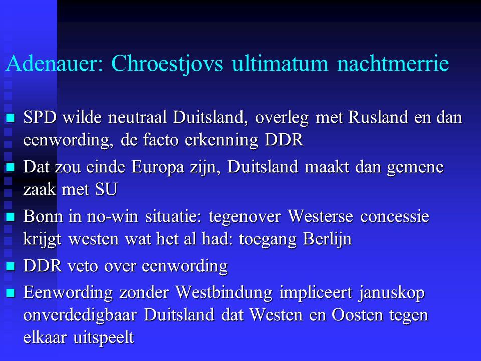 Adenauer: Chroestjovs ultimatum nachtmerrie SPD wilde neutraal Duitsland, overleg met Rusland en dan eenwording, de facto erkenning DDR SPD wilde neutraal Duitsland, overleg met Rusland en dan eenwording, de facto erkenning DDR Dat zou einde Europa zijn, Duitsland maakt dan gemene zaak met SU Dat zou einde Europa zijn, Duitsland maakt dan gemene zaak met SU Bonn in no-win situatie: tegenover Westerse concessie krijgt westen wat het al had: toegang Berlijn Bonn in no-win situatie: tegenover Westerse concessie krijgt westen wat het al had: toegang Berlijn DDR veto over eenwording DDR veto over eenwording Eenwording zonder Westbindung impliceert januskop onverdedigbaar Duitsland dat Westen en Oosten tegen elkaar uitspeelt Eenwording zonder Westbindung impliceert januskop onverdedigbaar Duitsland dat Westen en Oosten tegen elkaar uitspeelt
