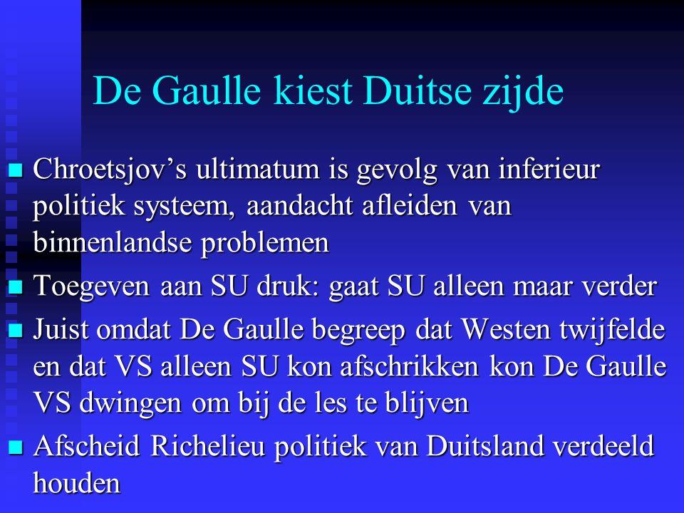 De Gaulle kiest Duitse zijde Chroetsjov's ultimatum is gevolg van inferieur politiek systeem, aandacht afleiden van binnenlandse problemen Chroetsjov's ultimatum is gevolg van inferieur politiek systeem, aandacht afleiden van binnenlandse problemen Toegeven aan SU druk: gaat SU alleen maar verder Toegeven aan SU druk: gaat SU alleen maar verder Juist omdat De Gaulle begreep dat Westen twijfelde en dat VS alleen SU kon afschrikken kon De Gaulle VS dwingen om bij de les te blijven Juist omdat De Gaulle begreep dat Westen twijfelde en dat VS alleen SU kon afschrikken kon De Gaulle VS dwingen om bij de les te blijven Afscheid Richelieu politiek van Duitsland verdeeld houden Afscheid Richelieu politiek van Duitsland verdeeld houden