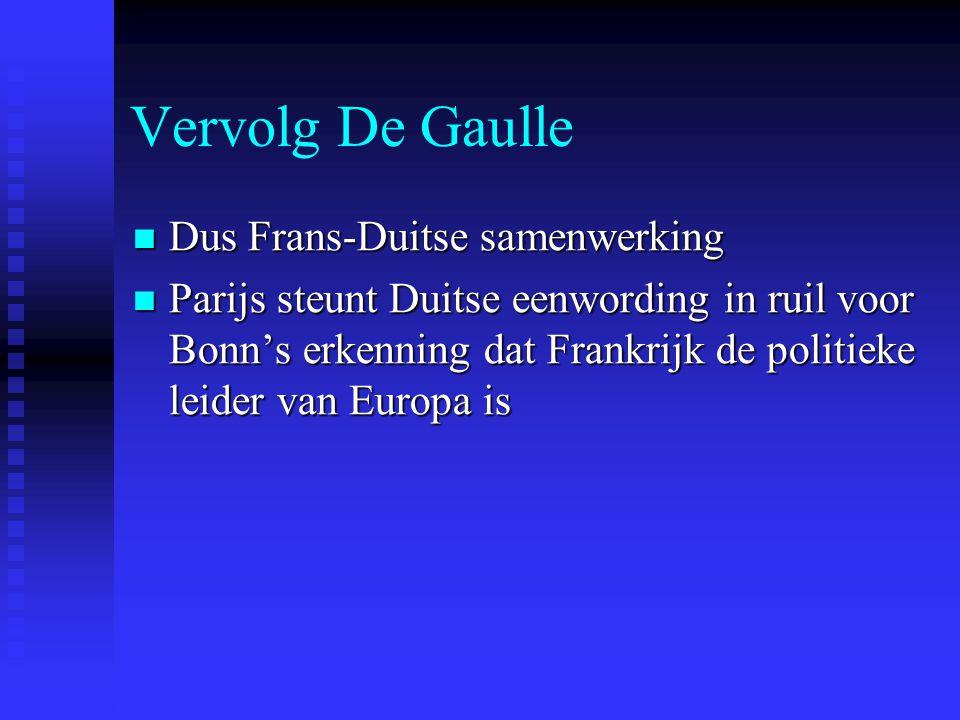 Vervolg De Gaulle Dus Frans-Duitse samenwerking Dus Frans-Duitse samenwerking Parijs steunt Duitse eenwording in ruil voor Bonn's erkenning dat Frankrijk de politieke leider van Europa is Parijs steunt Duitse eenwording in ruil voor Bonn's erkenning dat Frankrijk de politieke leider van Europa is