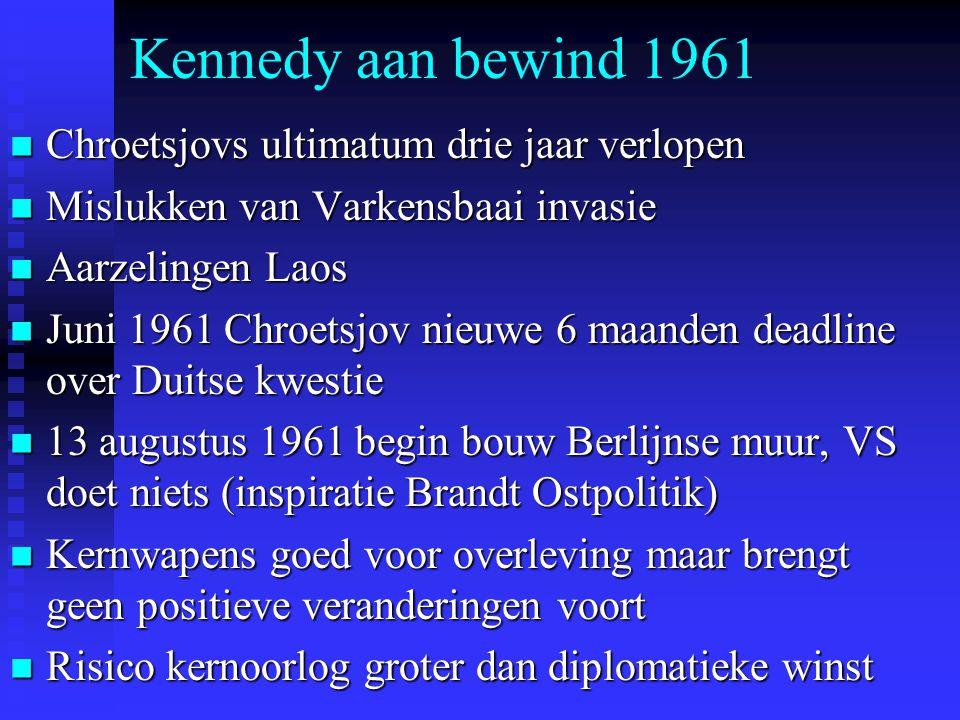 Kennedy aan bewind 1961 Chroetsjovs ultimatum drie jaar verlopen Chroetsjovs ultimatum drie jaar verlopen Mislukken van Varkensbaai invasie Mislukken van Varkensbaai invasie Aarzelingen Laos Aarzelingen Laos Juni 1961 Chroetsjov nieuwe 6 maanden deadline over Duitse kwestie Juni 1961 Chroetsjov nieuwe 6 maanden deadline over Duitse kwestie 13 augustus 1961 begin bouw Berlijnse muur, VS doet niets (inspiratie Brandt Ostpolitik) 13 augustus 1961 begin bouw Berlijnse muur, VS doet niets (inspiratie Brandt Ostpolitik) Kernwapens goed voor overleving maar brengt geen positieve veranderingen voort Kernwapens goed voor overleving maar brengt geen positieve veranderingen voort Risico kernoorlog groter dan diplomatieke winst Risico kernoorlog groter dan diplomatieke winst