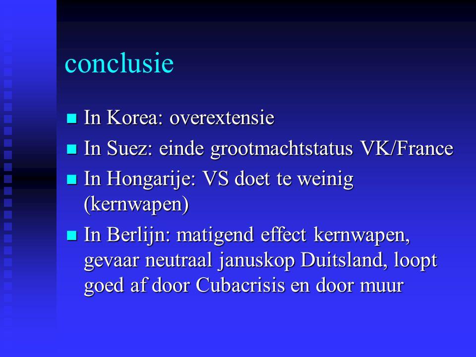 conclusie In Korea: overextensie In Korea: overextensie In Suez: einde grootmachtstatus VK/France In Suez: einde grootmachtstatus VK/France In Hongari