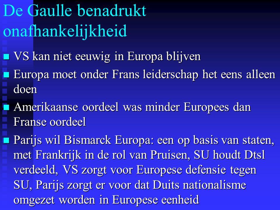 De Gaulle benadrukt onafhankelijkheid VS kan niet eeuwig in Europa blijven VS kan niet eeuwig in Europa blijven Europa moet onder Frans leiderschap het eens alleen doen Europa moet onder Frans leiderschap het eens alleen doen Amerikaanse oordeel was minder Europees dan Franse oordeel Amerikaanse oordeel was minder Europees dan Franse oordeel Parijs wil Bismarck Europa: een op basis van staten, met Frankrijk in de rol van Pruisen, SU houdt Dtsl verdeeld, VS zorgt voor Europese defensie tegen SU, Parijs zorgt er voor dat Duits nationalisme omgezet worden in Europese eenheid Parijs wil Bismarck Europa: een op basis van staten, met Frankrijk in de rol van Pruisen, SU houdt Dtsl verdeeld, VS zorgt voor Europese defensie tegen SU, Parijs zorgt er voor dat Duits nationalisme omgezet worden in Europese eenheid