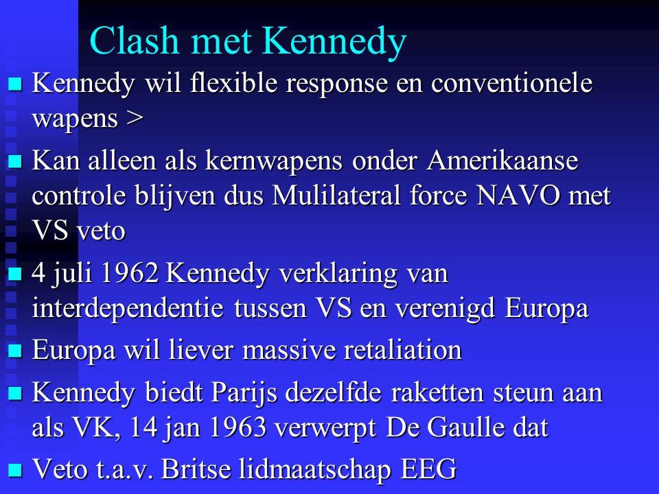 Clash met Kennedy Kennedy wil flexible response en conventionele wapens > Kennedy wil flexible response en conventionele wapens > Kan alleen als kernwapens onder Amerikaanse controle blijven dus Mulilateral force NAVO met VS veto Kan alleen als kernwapens onder Amerikaanse controle blijven dus Mulilateral force NAVO met VS veto 4 juli 1962 Kennedy verklaring van interdependentie tussen VS en verenigd Europa 4 juli 1962 Kennedy verklaring van interdependentie tussen VS en verenigd Europa Europa wil liever massive retaliation Europa wil liever massive retaliation Kennedy biedt Parijs dezelfde raketten steun aan als VK, 14 jan 1963 verwerpt De Gaulle dat Kennedy biedt Parijs dezelfde raketten steun aan als VK, 14 jan 1963 verwerpt De Gaulle dat Veto t.a.v.