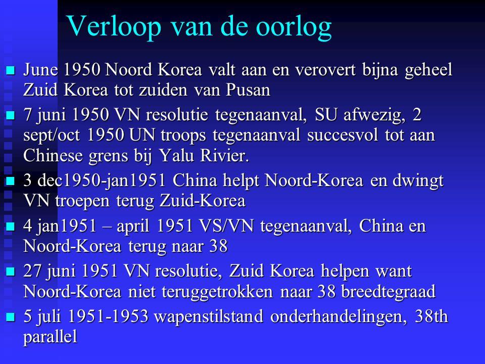 Verloop van de oorlog June 1950 Noord Korea valt aan en verovert bijna geheel Zuid Korea tot zuiden van Pusan June 1950 Noord Korea valt aan en verovert bijna geheel Zuid Korea tot zuiden van Pusan 7 juni 1950 VN resolutie tegenaanval, SU afwezig, 2 sept/oct 1950 UN troops tegenaanval succesvol tot aan Chinese grens bij Yalu Rivier.