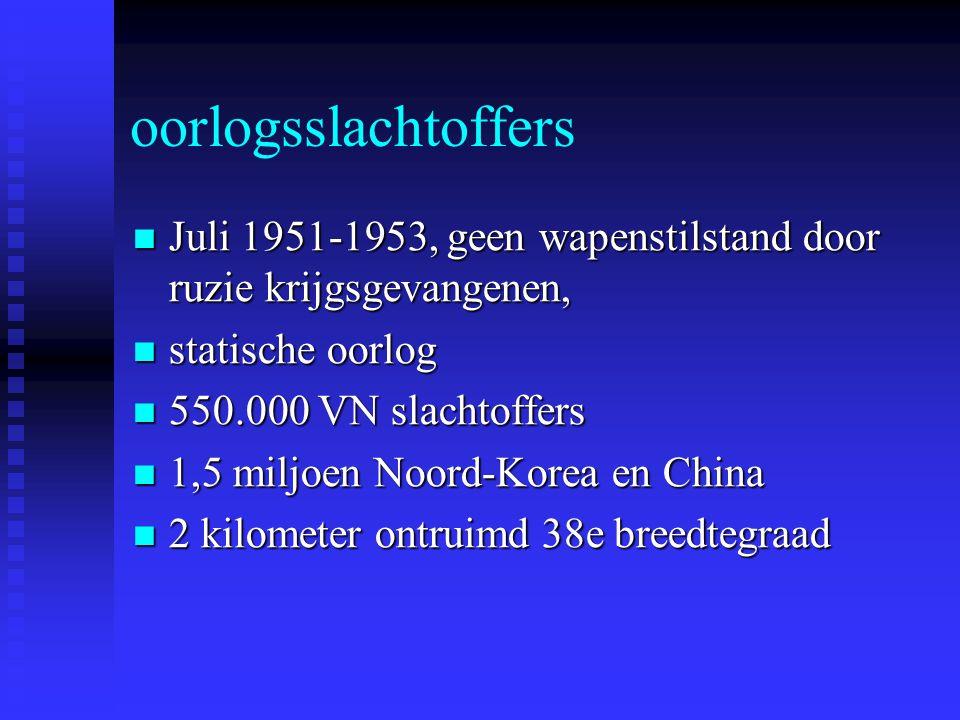 oorlogsslachtoffers Juli 1951-1953, geen wapenstilstand door ruzie krijgsgevangenen, Juli 1951-1953, geen wapenstilstand door ruzie krijgsgevangenen, statische oorlog statische oorlog 550.000 VN slachtoffers 550.000 VN slachtoffers 1,5 miljoen Noord-Korea en China 1,5 miljoen Noord-Korea en China 2 kilometer ontruimd 38e breedtegraad 2 kilometer ontruimd 38e breedtegraad