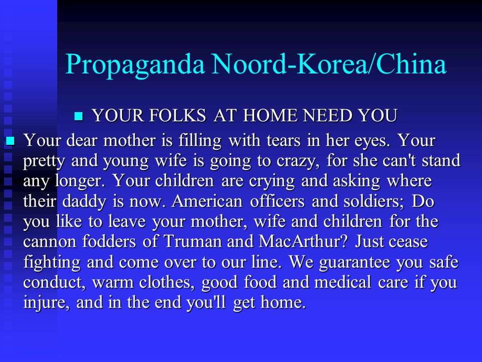 Propaganda Noord-Korea/China YOUR FOLKS AT HOME NEED YOU YOUR FOLKS AT HOME NEED YOU Your dear mother is filling with tears in her eyes.