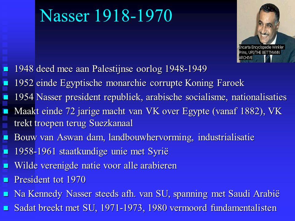 Nasser 1918-1970 1948 deed mee aan Palestijnse oorlog 1948-1949 1948 deed mee aan Palestijnse oorlog 1948-1949 1952 einde Egyptische monarchie corrupt